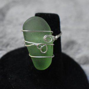 Green Sea Glass/Silver Ring